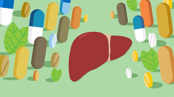 Illustration Of Drugs And Human Liver