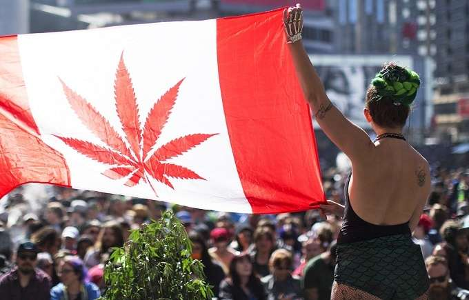 Woman Holding Canadian Flag