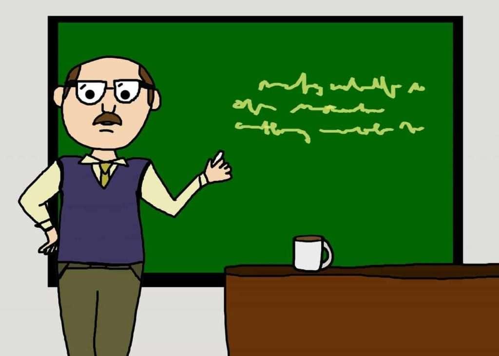 guy at calkboard cartoon