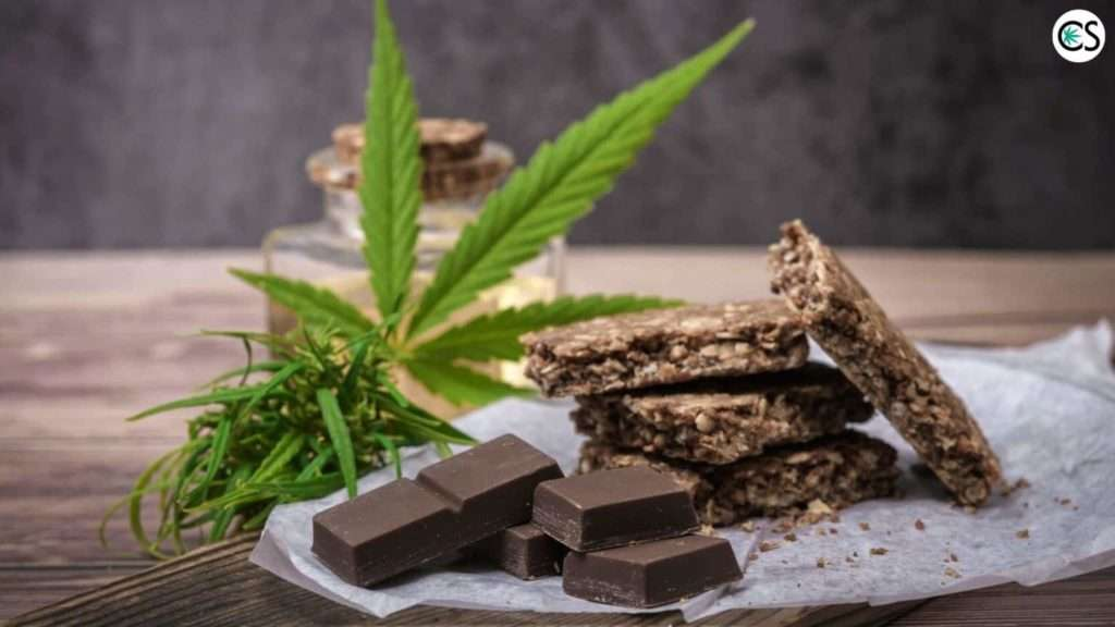 cannabis leaf with chocolate